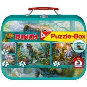 Schmidt Dinosaurs Four Jigsaws in a Keepsake Tin Children's Jigsaw