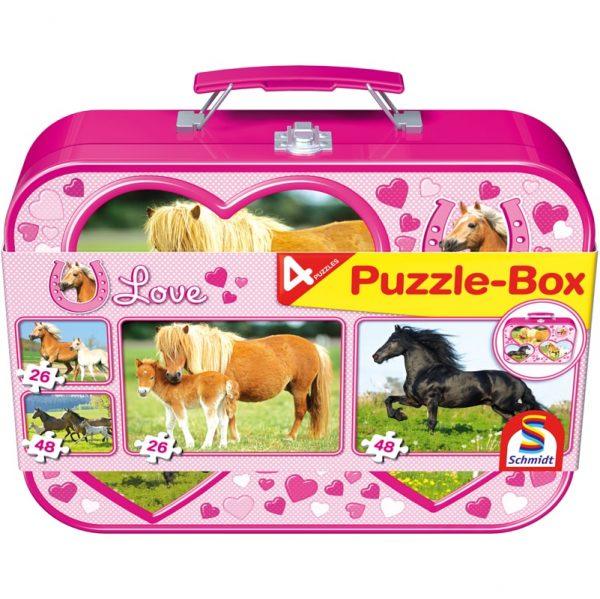 Schmidt I Love Horses Four Jigsaws in a Keepsake Tin Children's Jigsaw