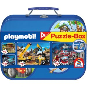 Schmidt Playmobil 4 Jigsaws in a Keepsake Tin Blue Children's Jigsaw