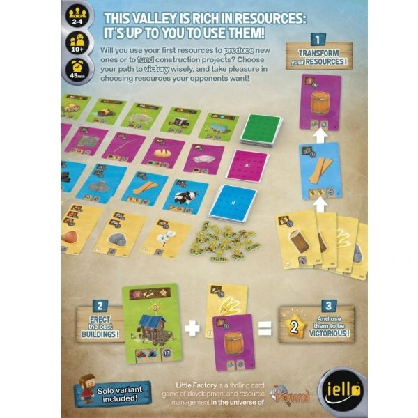 Little factory board game box back
